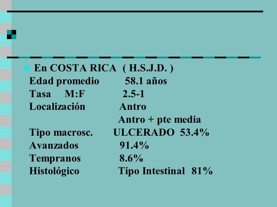 En COSTA RICA ( H.S.J.D. )Edad promedio 58.1 años. Tasa M:F 2.5-1. Localización Antro.