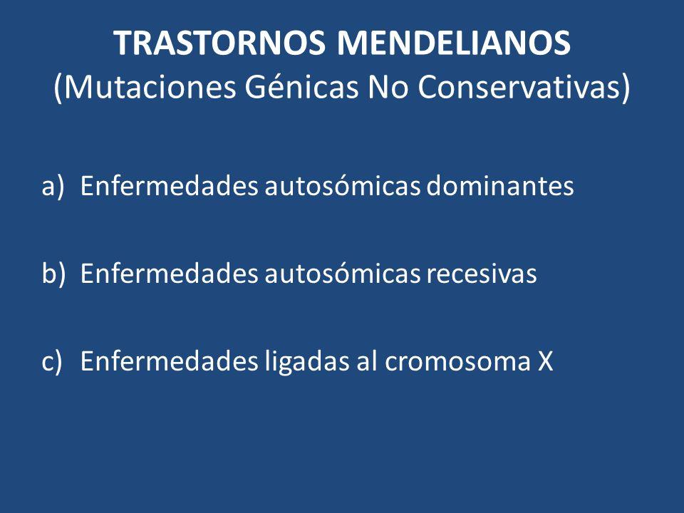 TRASTORNOS MENDELIANOS (Mutaciones Génicas No Conservativas)