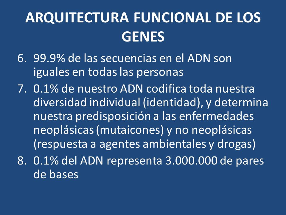 ARQUITECTURA FUNCIONAL DE LOS GENES
