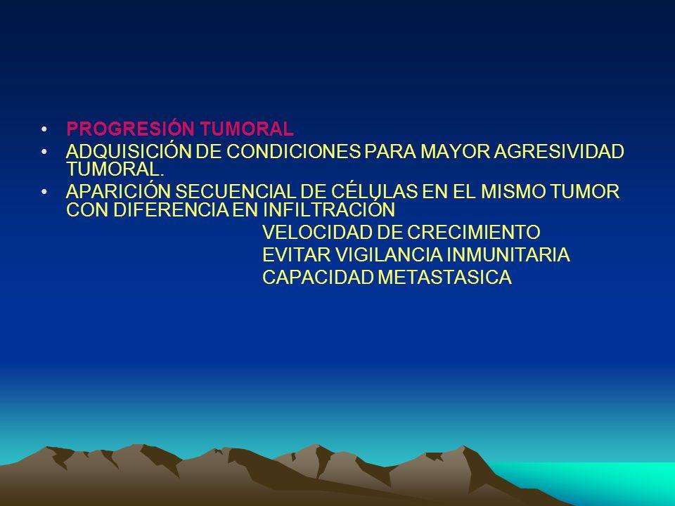 PROGRESIÓN TUMORAL ADQUISICIÓN DE CONDICIONES PARA MAYOR AGRESIVIDAD TUMORAL.