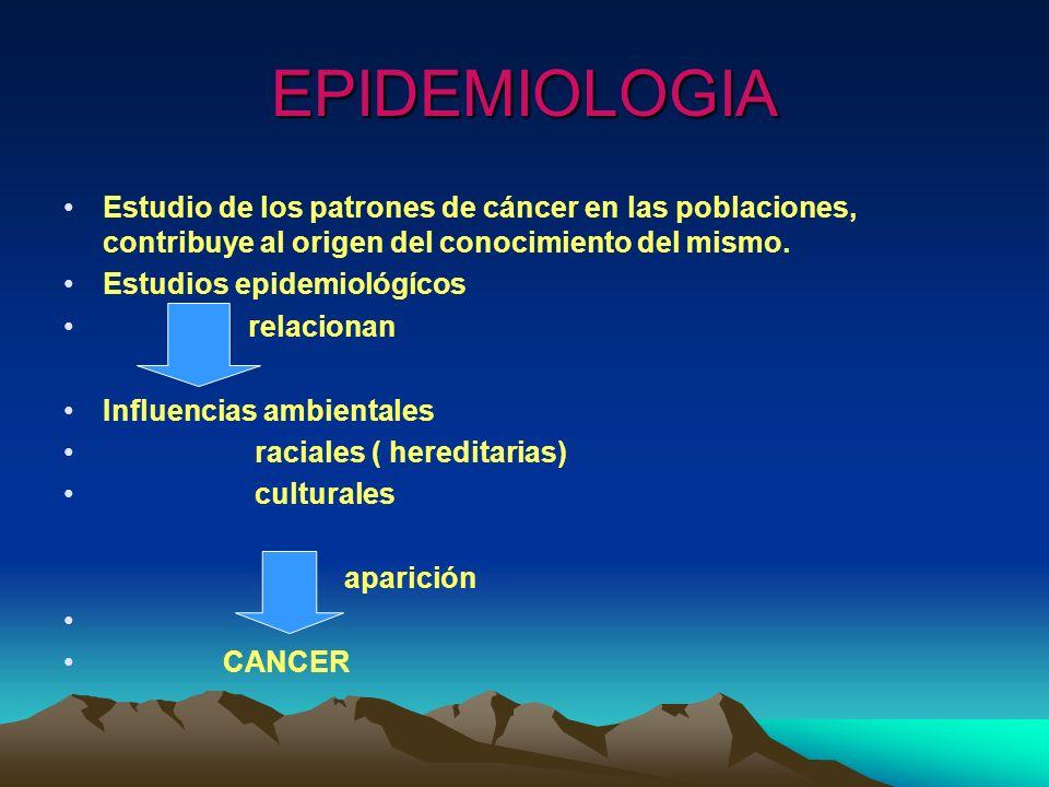 EPIDEMIOLOGIA Estudio de los patrones de cáncer en las poblaciones, contribuye al origen del conocimiento del mismo.