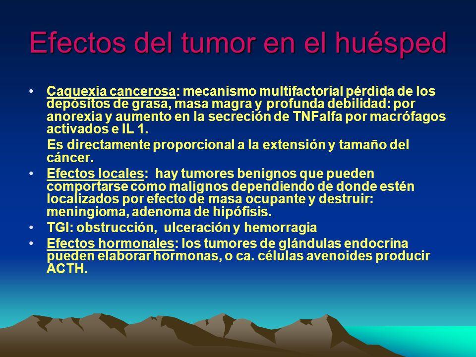 Efectos del tumor en el huésped