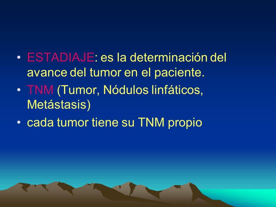 ESTADIAJE: es la determinación del avance del tumor en el paciente.
