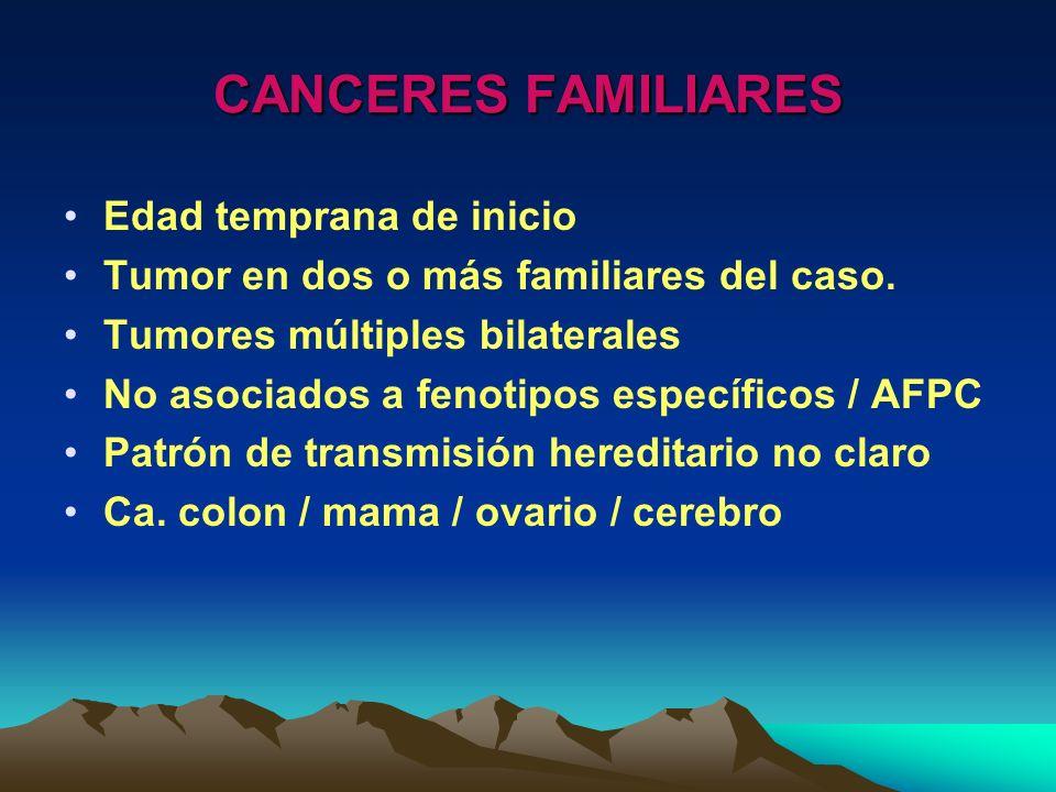 CANCERES FAMILIARES Edad temprana de inicio