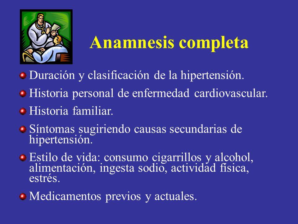 Anamnesis completa Duración y clasificación de la hipertensión.