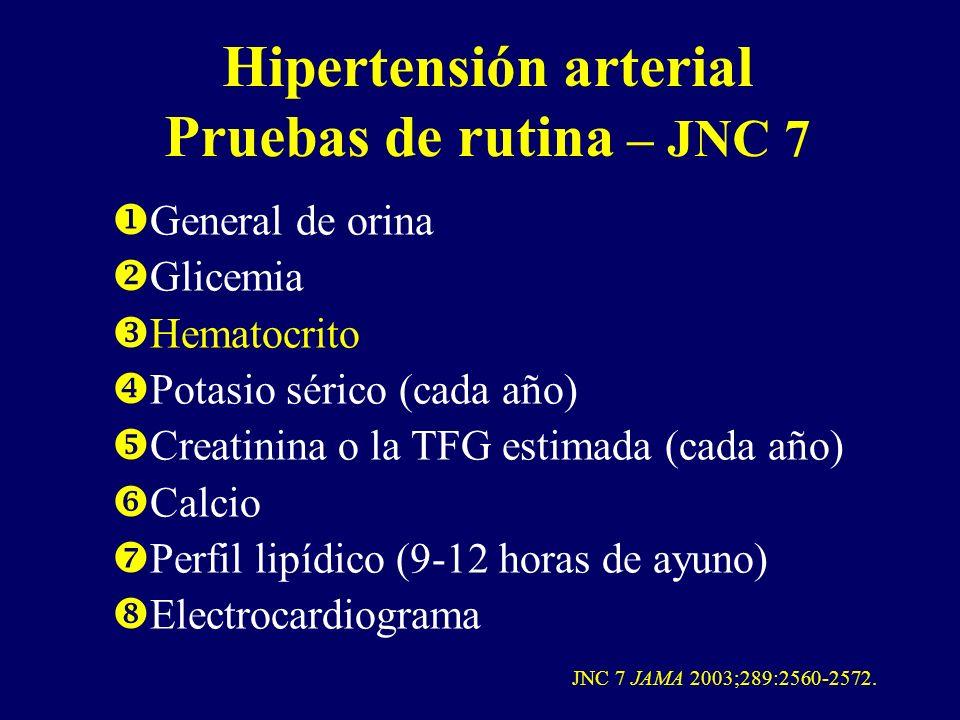 Hipertensión arterial Pruebas de rutina – JNC 7
