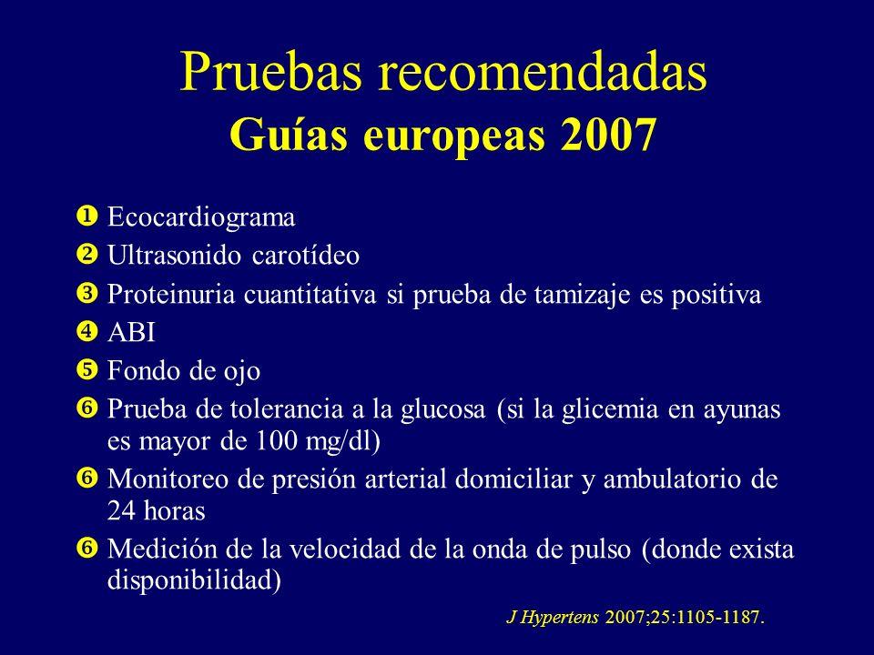 Pruebas recomendadas Guías europeas 2007