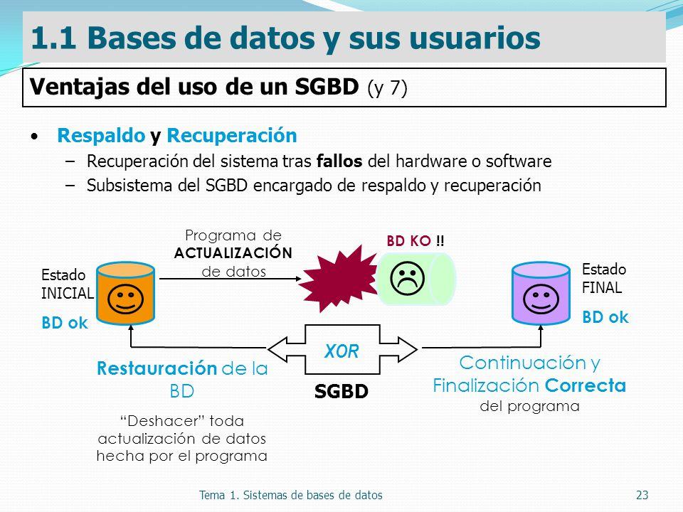  1.1 Bases de datos y sus usuarios Ventajas del uso de un SGBD (y 7)