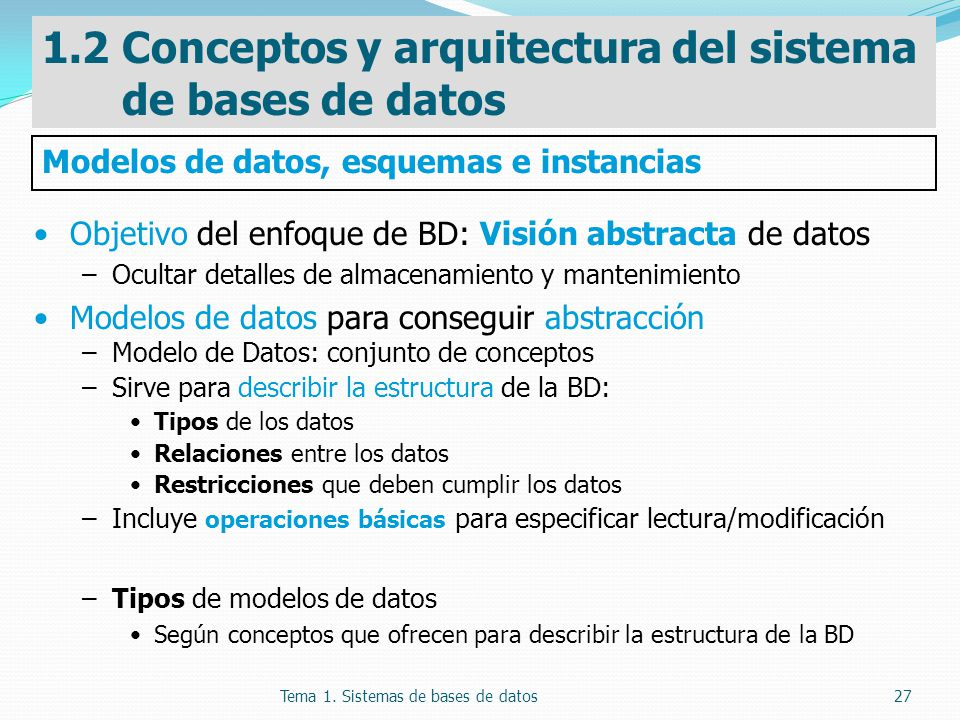 1.2 Conceptos y arquitectura del sistema de bases de datos