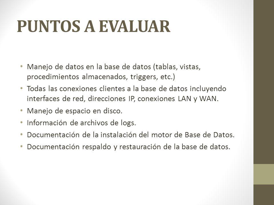 PUNTOS A EVALUAR Manejo de datos en la base de datos (tablas, vistas, procedimientos almacenados, triggers, etc.)
