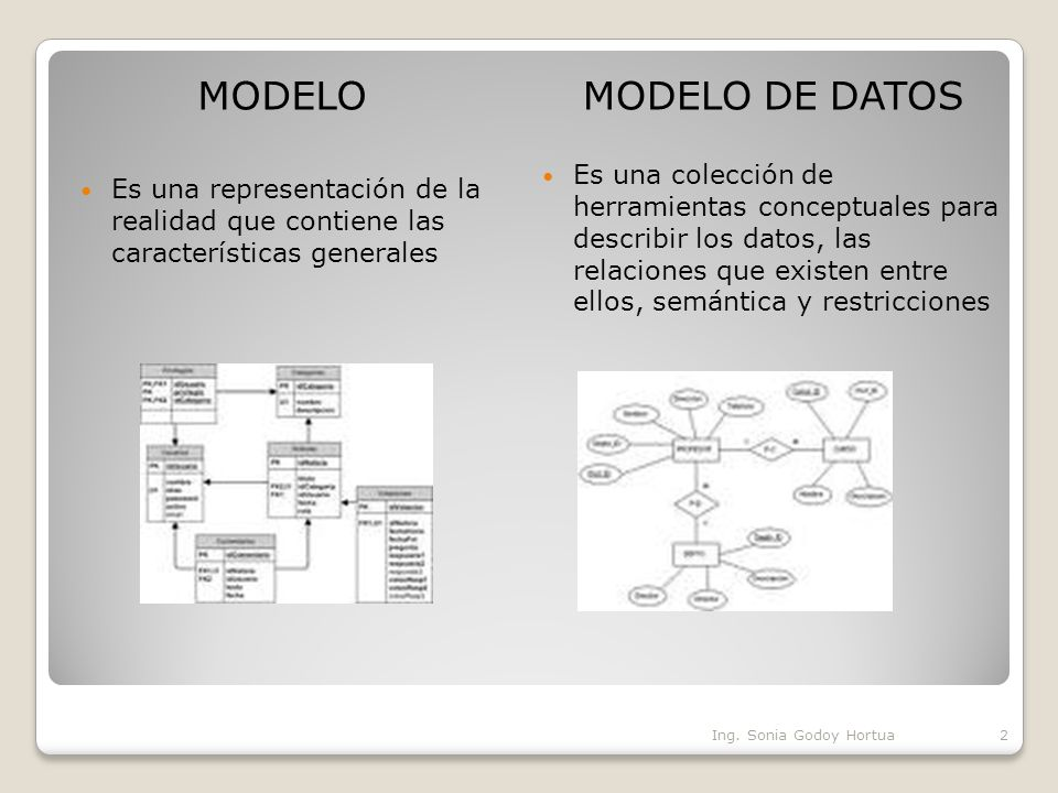 MODELO Es una representación de la realidad que contiene las características generales. MODELO DE DATOS.