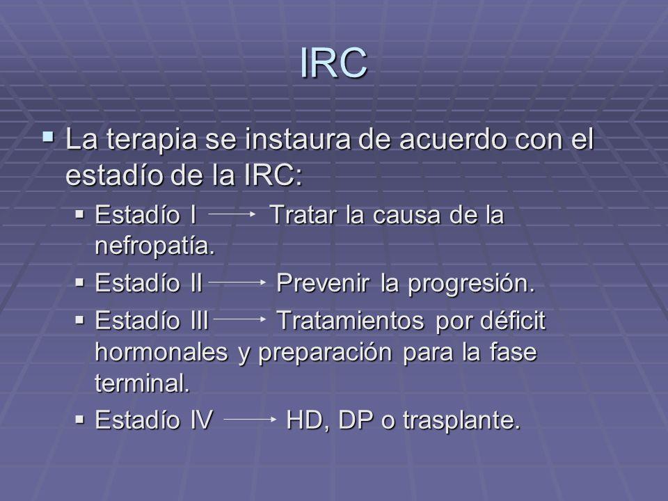 IRC La terapia se instaura de acuerdo con el estadío de la IRC: