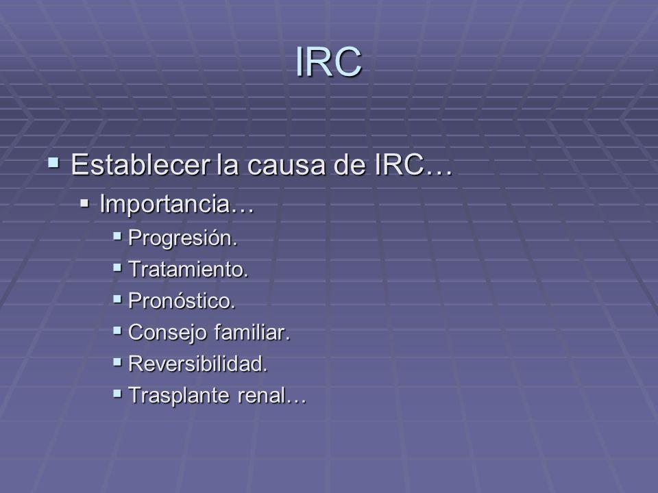 IRC Establecer la causa de IRC… Importancia… Progresión. Tratamiento.