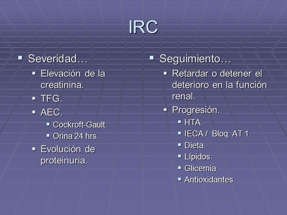 IRC Severidad… Seguimiento… Elevación de la creatinina. TFG. AEC.