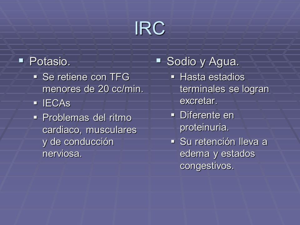 IRC Potasio. Sodio y Agua. Se retiene con TFG menores de 20 cc/min.