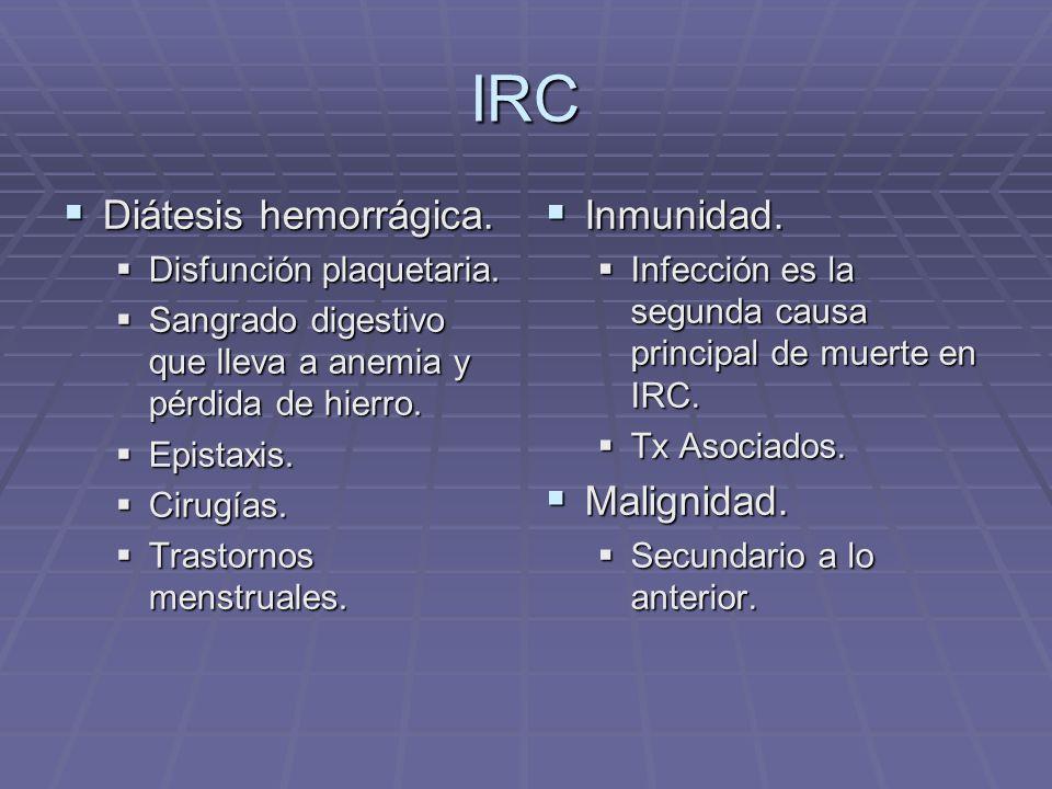 IRC Diátesis hemorrágica. Inmunidad. Malignidad.