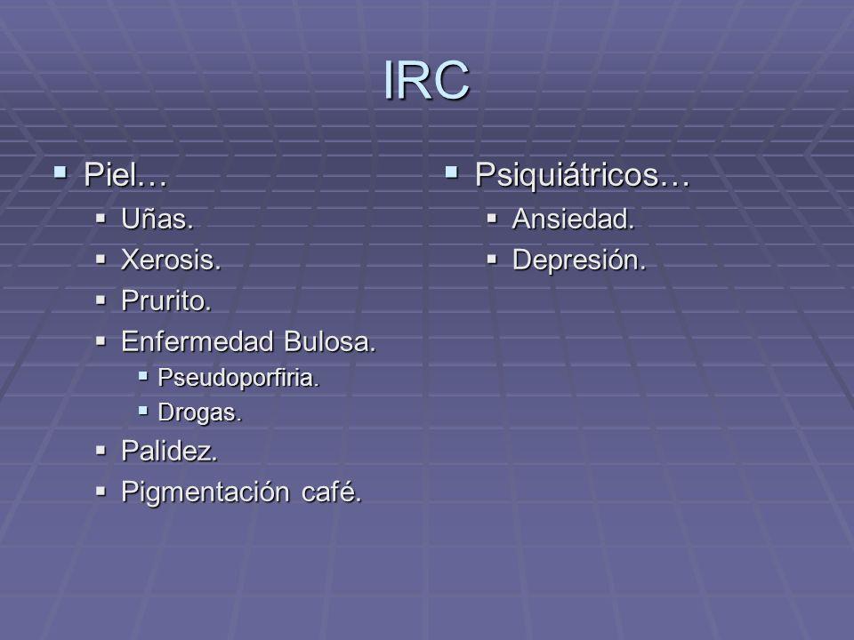 IRC Piel… Psiquiátricos… Uñas. Xerosis. Prurito. Enfermedad Bulosa.