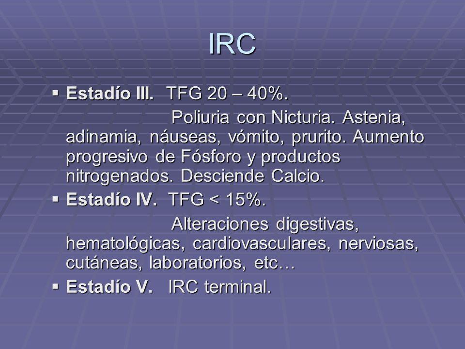 IRC Estadío III. TFG 20 – 40%.