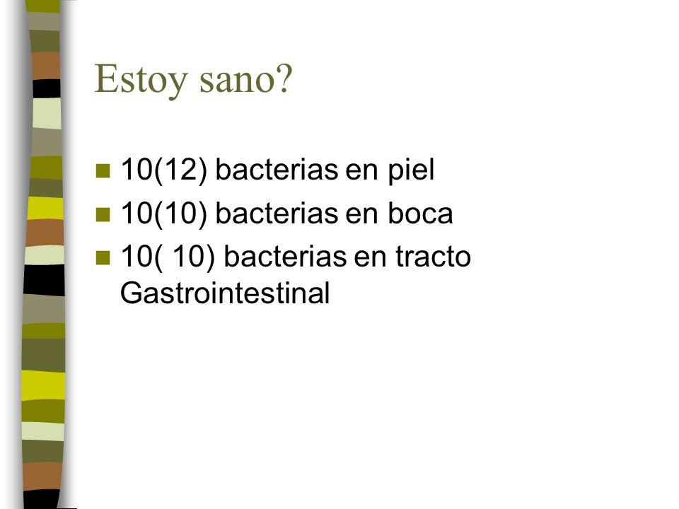 Estoy sano 10(12) bacterias en piel 10(10) bacterias en boca