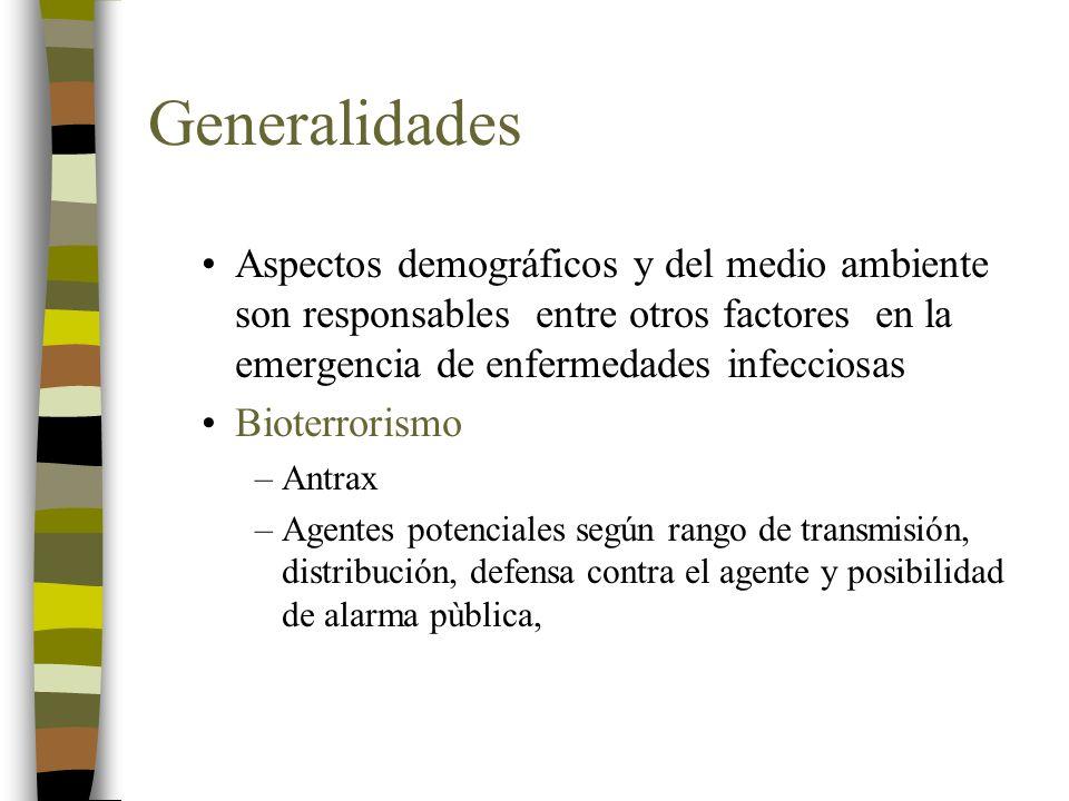 Generalidades Aspectos demográficos y del medio ambiente son responsables entre otros factores en la emergencia de enfermedades infecciosas.