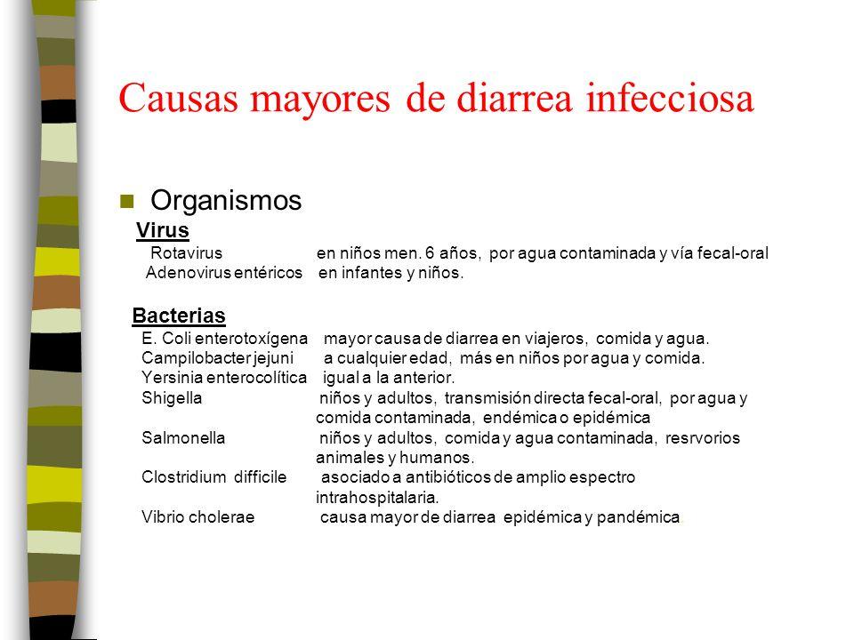 Causas mayores de diarrea infecciosa