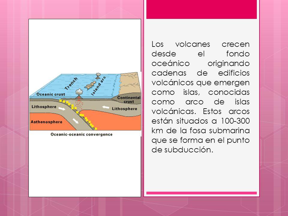 Los volcanes crecen desde el fondo oceánico originando cadenas de edificios volcánicos que emergen como islas, conocidas como arco de islas volcánicas.