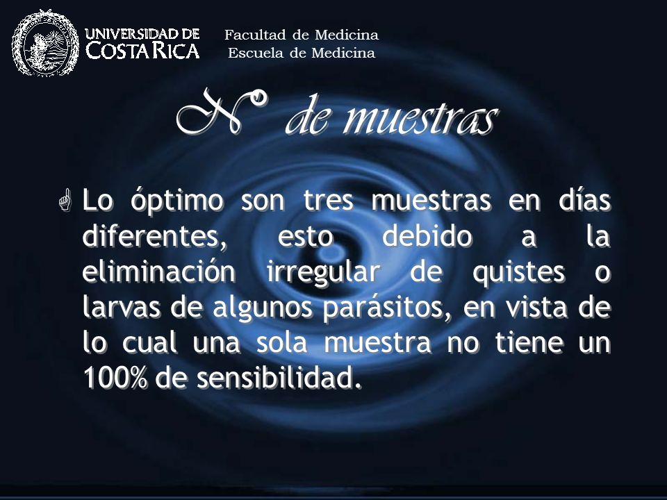 Facultad de MedicinaEscuela de Medicina. N° de muestras.