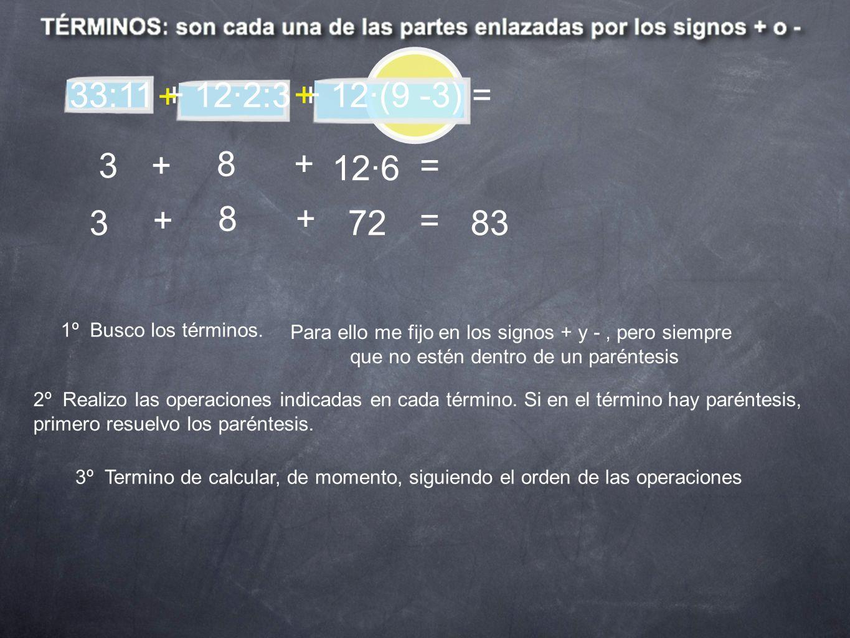 33:11 + 12·2:3 + 12·(9 -3) =+ + 3. + 8. + 12·6. = 3. + 8. + 72. = 83. 1º Busco los términos. Para ello me fijo en los signos + y - , pero siempre.