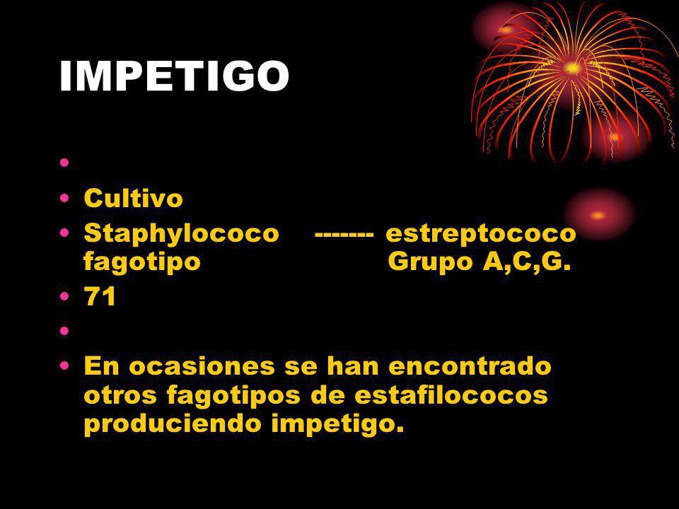 IMPETIGO Cultivo. Staphylococo ------- estreptococo fagotipo Grupo A,C,G.