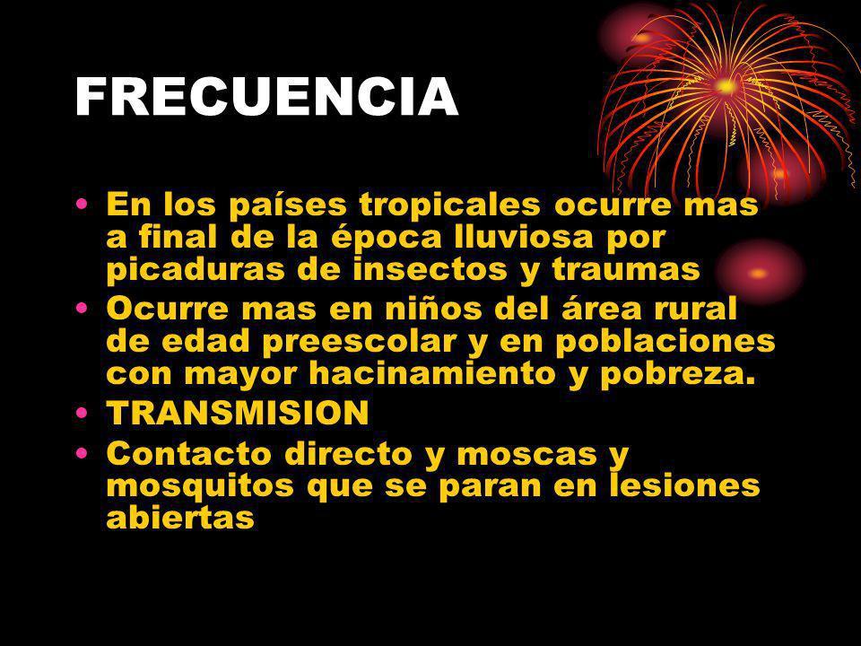 FRECUENCIA En los países tropicales ocurre mas a final de la época lluviosa por picaduras de insectos y traumas.