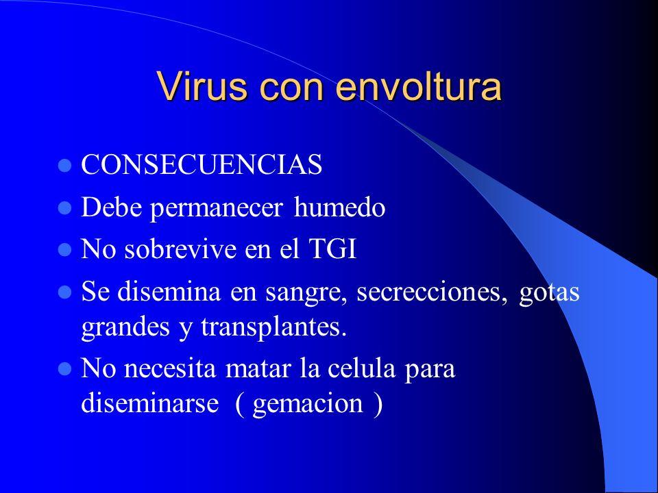 Virus con envoltura CONSECUENCIAS Debe permanecer humedo