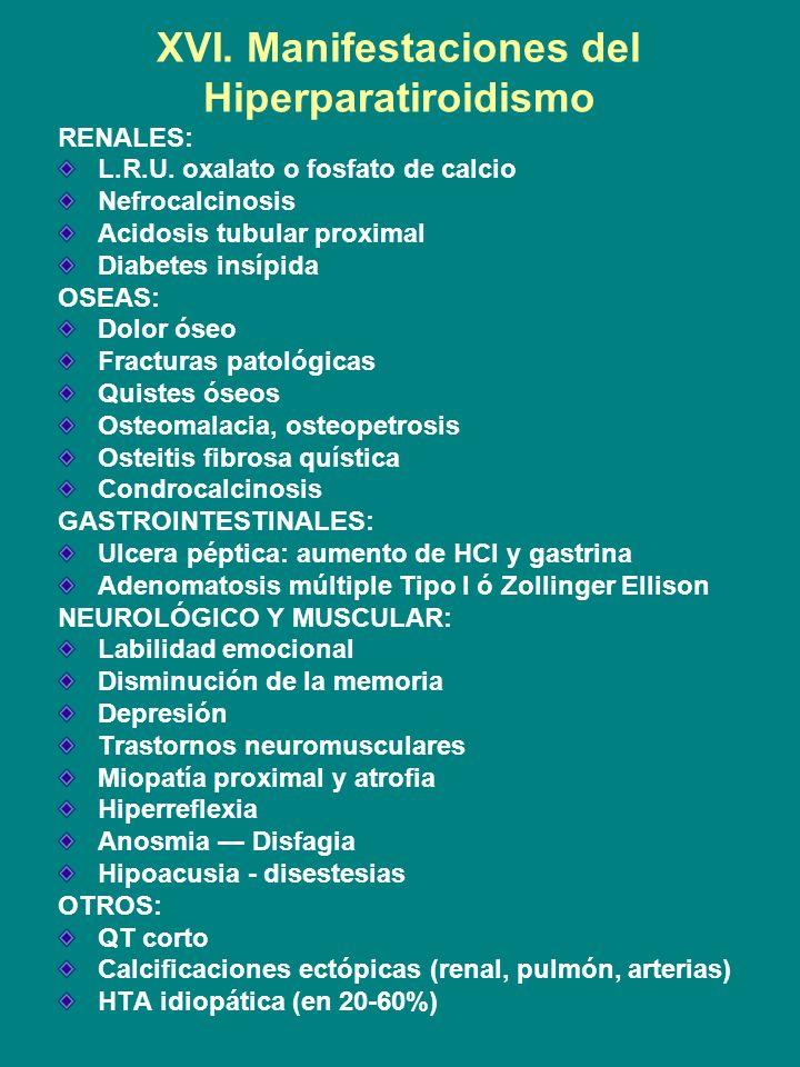 XVI. Manifestaciones del Hiperparatiroidismo