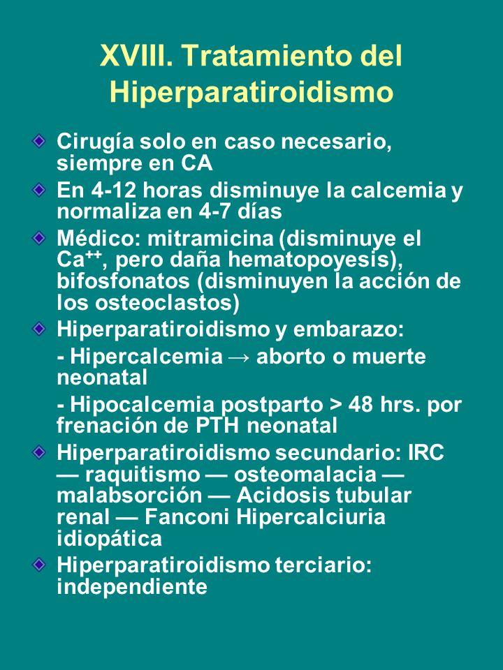 XVIII. Tratamiento del Hiperparatiroidismo