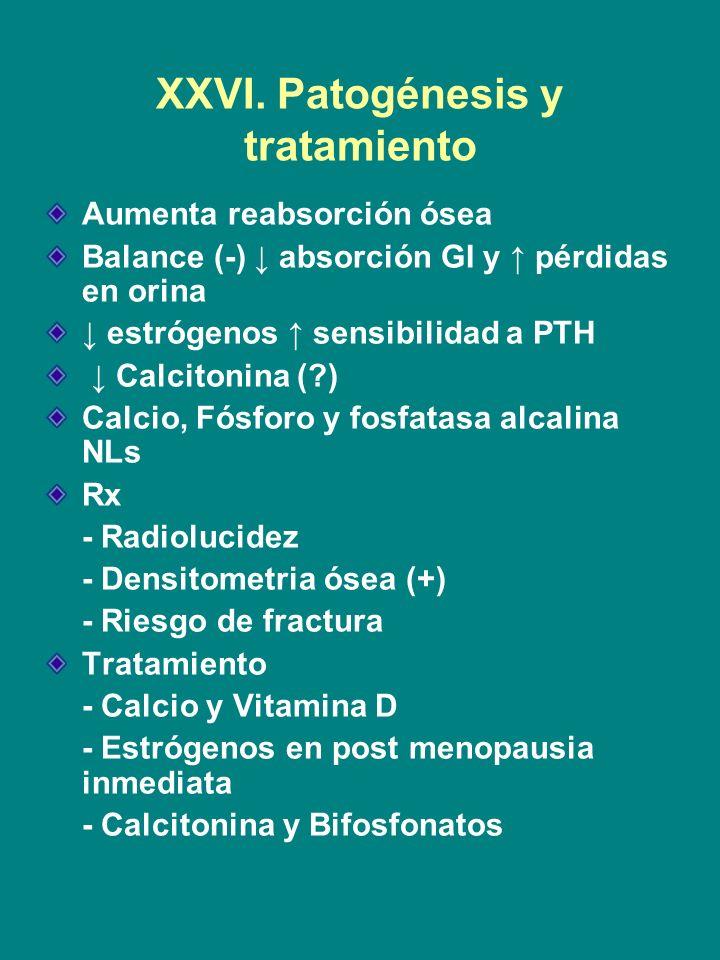 XXVI. Patogénesis y tratamiento
