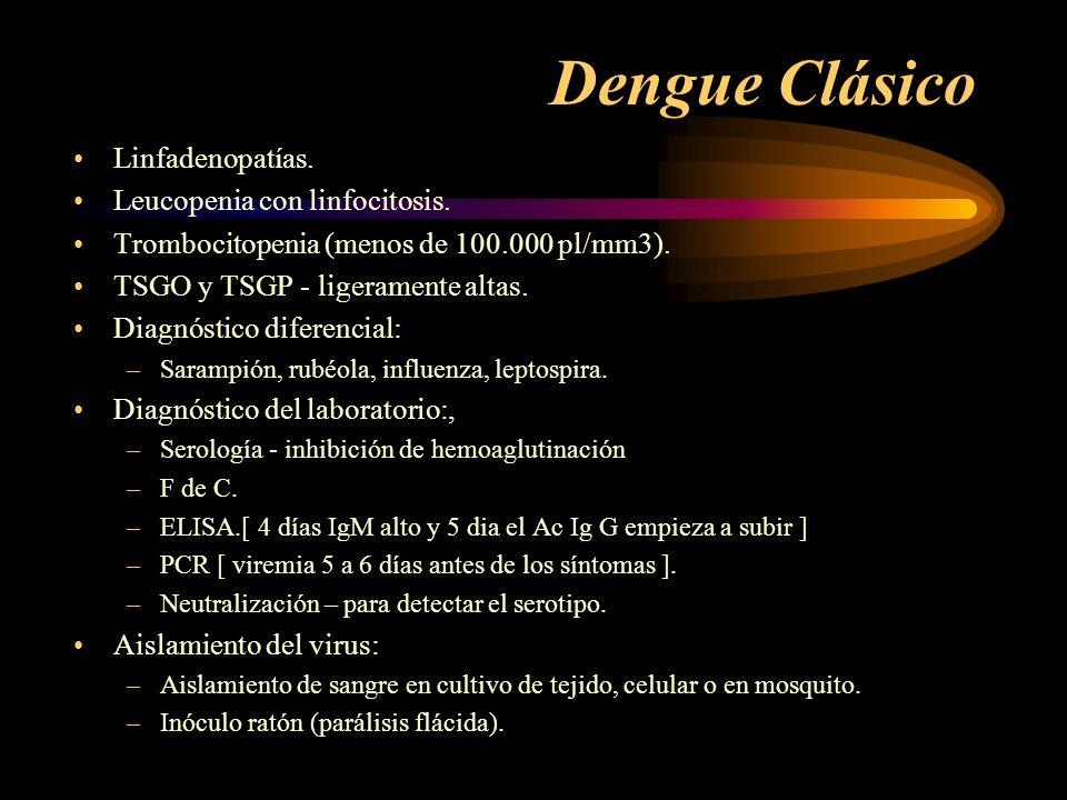 Dengue Clásico Linfadenopatías. Leucopenia con linfocitosis.