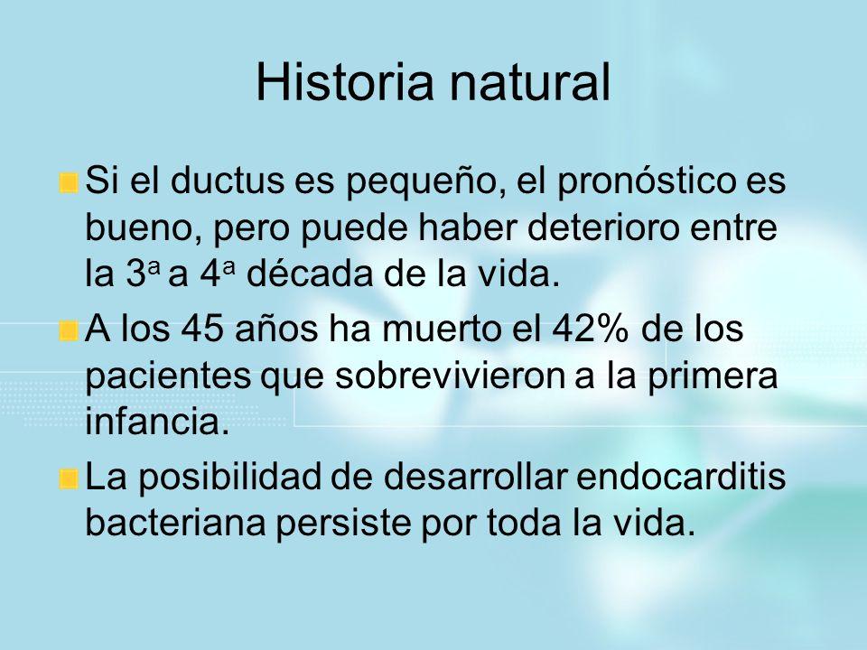 Historia natural Si el ductus es pequeño, el pronóstico es bueno, pero puede haber deterioro entre la 3a a 4a década de la vida.