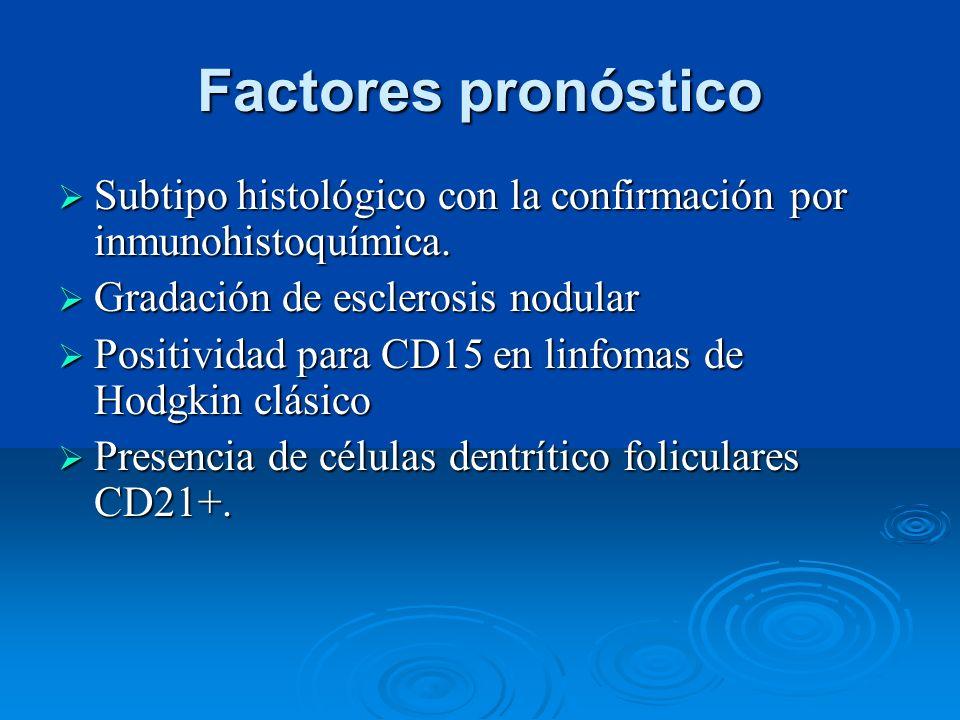 Factores pronóstico Subtipo histológico con la confirmación por inmunohistoquímica. Gradación de esclerosis nodular.