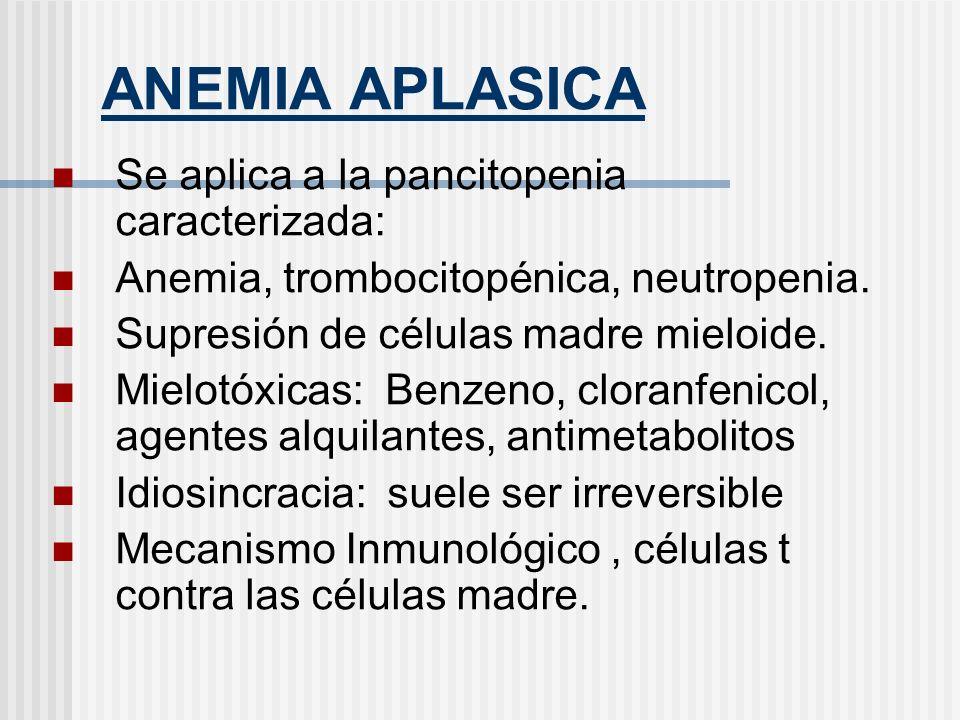 ANEMIA APLASICA Se aplica a la pancitopenia caracterizada:
