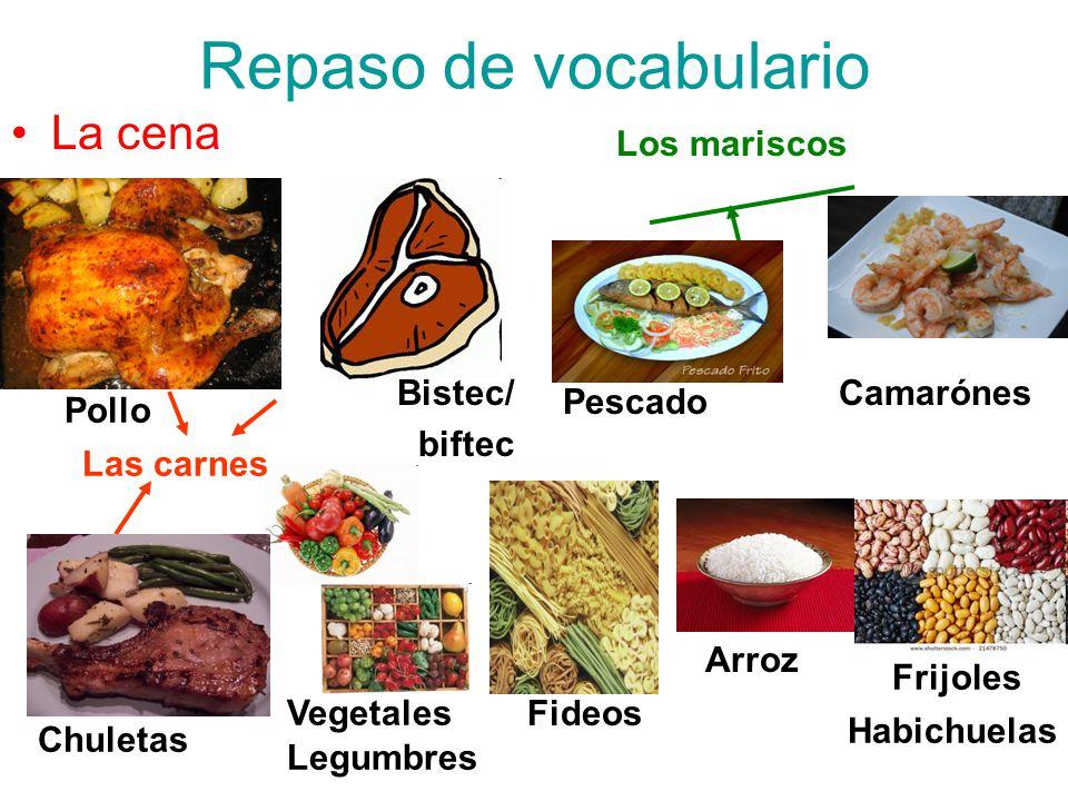 Repaso de vocabulario La cena Los mariscos Bistec/ biftec Camarónes
