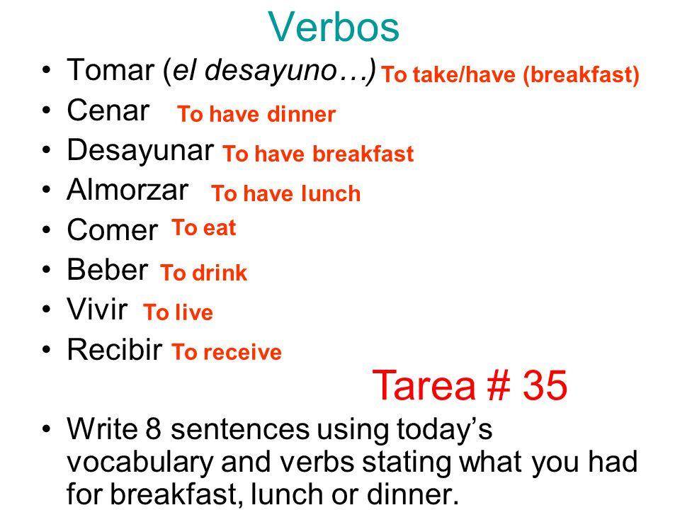 Verbos Tarea # 35 Tomar (el desayuno…) Cenar Desayunar Almorzar Comer