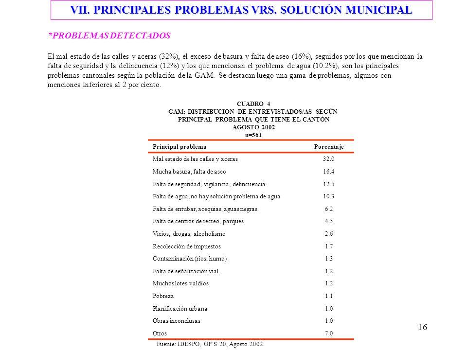 VII. PRINCIPALES PROBLEMAS VRS. SOLUCIÓN MUNICIPAL