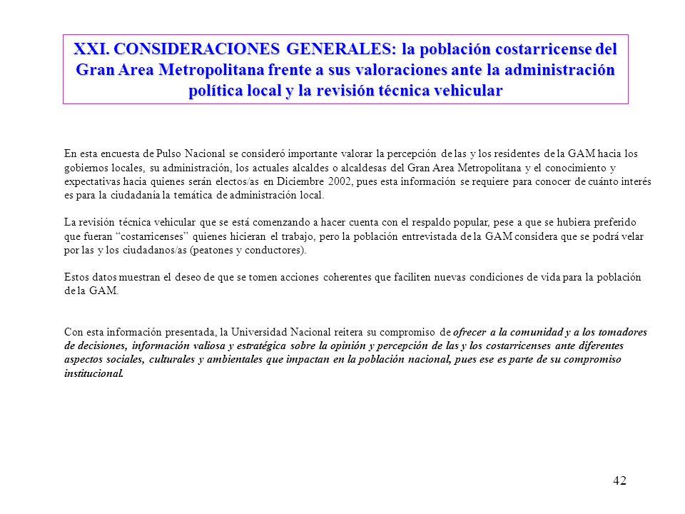 XXI. CONSIDERACIONES GENERALES: la población costarricense del Gran Area Metropolitana frente a sus valoraciones ante la administración política local y la revisión técnica vehicular
