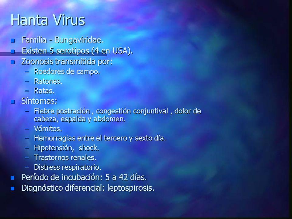 Hanta Virus Familia - Bungaviridae. Existen 5 serotipos (4 en USA).