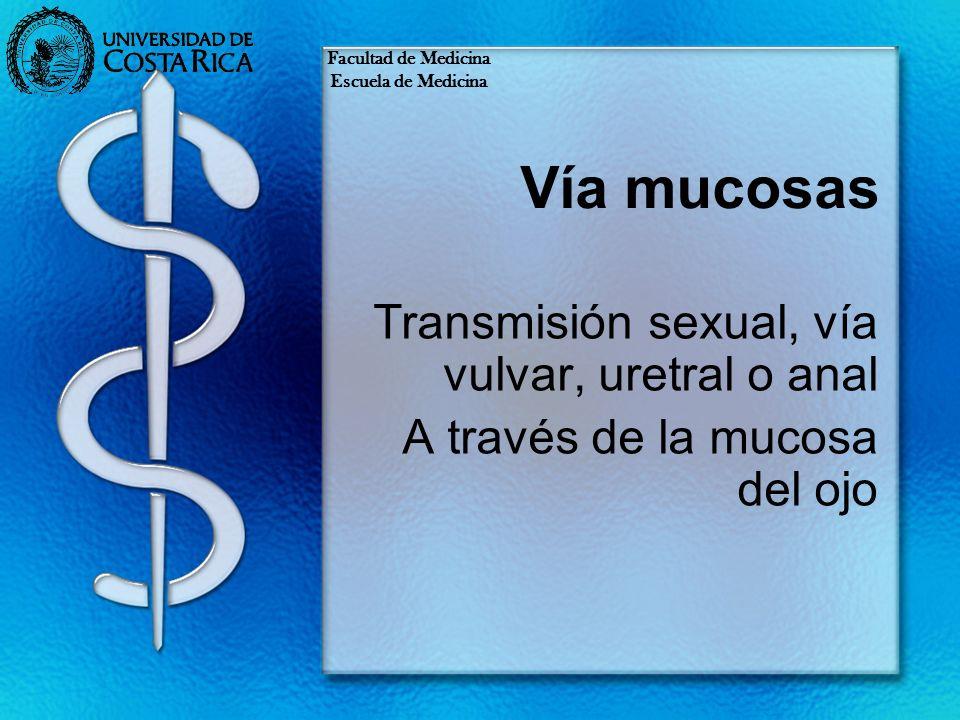 Vía mucosas Transmisión sexual, vía vulvar, uretral o anal