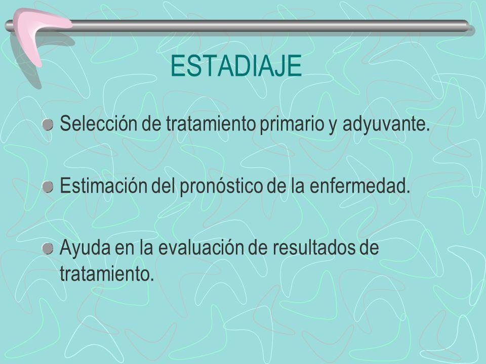 ESTADIAJE Selección de tratamiento primario y adyuvante.