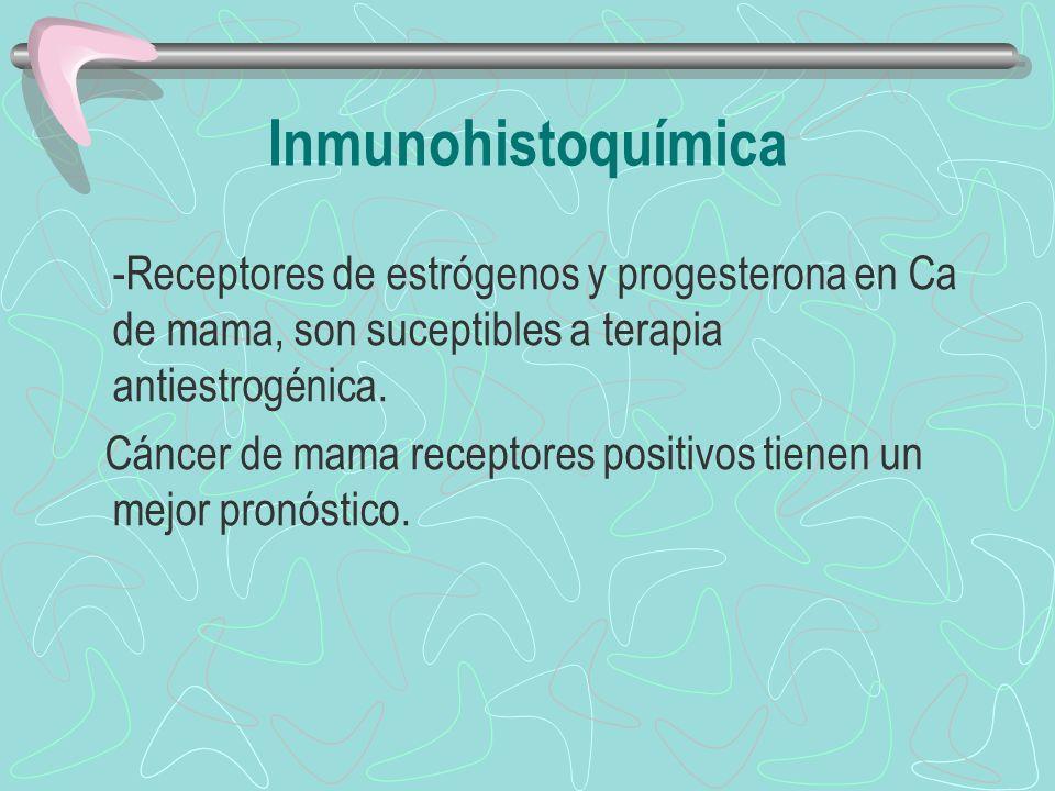 Inmunohistoquímica -Receptores de estrógenos y progesterona en Ca de mama, son suceptibles a terapia antiestrogénica.