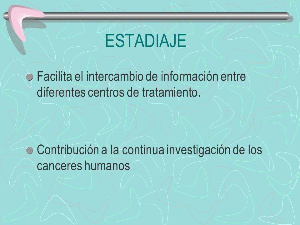 ESTADIAJE Facilita el intercambio de información entre diferentes centros de tratamiento.