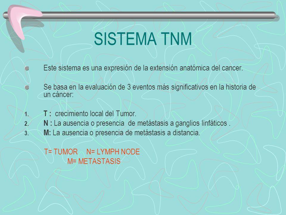 SISTEMA TNM Este sistema es una expresión de la extensión anatómica del cancer.