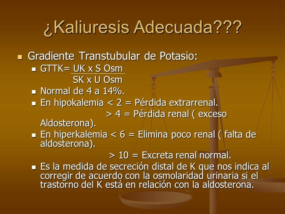 ¿Kaliuresis Adecuada Gradiente Transtubular de Potasio: