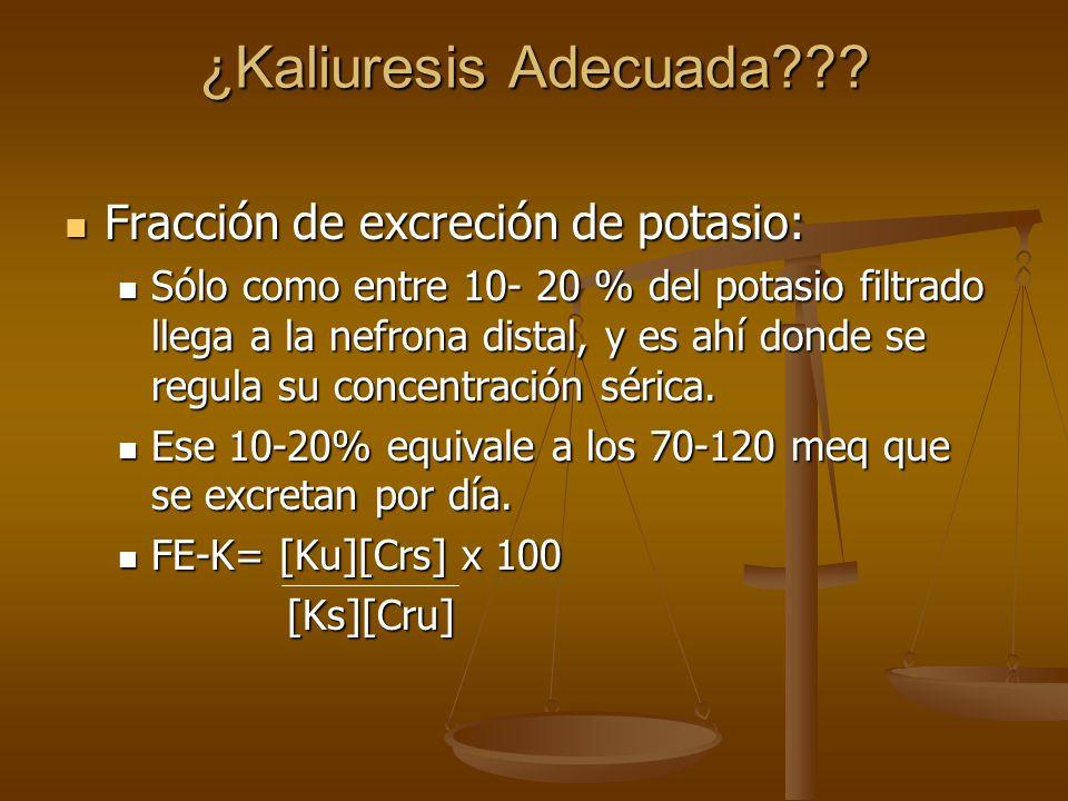 ¿Kaliuresis Adecuada Fracción de excreción de potasio: